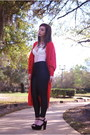 Red-long-cardigan-vintage-cardigan-white-sheer-forever-21-bodysuit