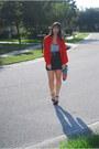Black-aldo-shoes-heels-gray-forever-21-dress-red-vintage-blouse