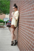 bronze H&M dress - light yellow thrifted vintage blouse - dark brown Bandage Sty