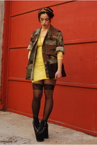 olive green army jacket vacant moon vintage jacket - light yellow lace H&M dress