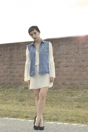 navy jean vest thrifted vest - white white Karmaloop dress