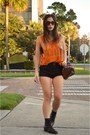 Black-lace-up-vintage-boots-black-urban-outfitters-shorts