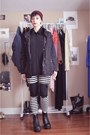 Black-vintage-boots-brick-red-beanie-h-m-hat-black-anorak-h-m-jacket