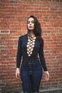 Navy-frayed-carmar-jeans-black-deep-v-carmar-bodysuit