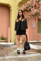 black jean jacket vintage jacket - black creepers OASAP shoes