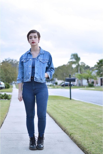 sky blue denim vintage jacket - black Dr Martens boots