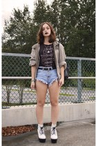 beige vacant moon vintage jacket - white tardy boot Jeffrey Campbell boots