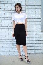 black midi Forever 21 skirt - white crop top Boohoo top - black JC Penney wedges