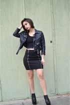 black booties Boohoo boots - black motorcycle Nasty Gal jacket