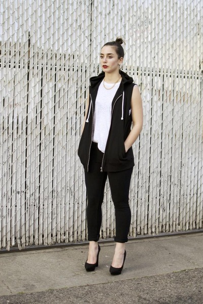 black sleeveless H&M hoodie - white shirt - black pumps Nasty Gal heels