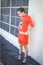 red two piece Choies shorts - red Choies blouse - black pointy toe UrbanOG heels