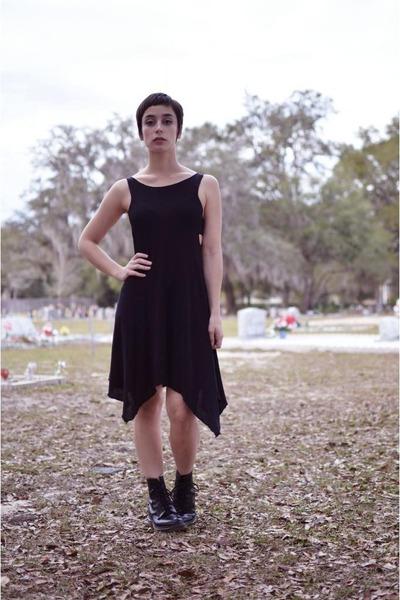 black Dr Martens boots - black asymmetrical thrifted dress