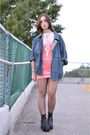 Black-vintage-boots-salmon-velvet-unif-dress-navy-vintage-jacket