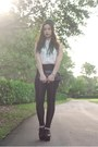 White-h-m-blouse-black-disco-pants-american-apparel-pants