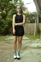 black bodycon Forever 21 dress - white tardy boots Jeffrey Campbell boots