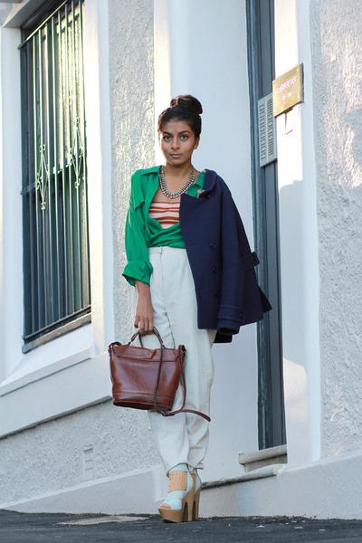 aquamarine asos heels - forest green silk vintage shirt