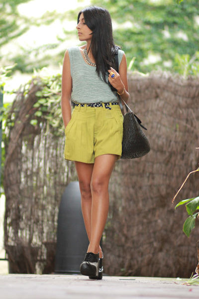 lime green vintage shorts - black Jeffrey Campbell wedges - teal vintage top