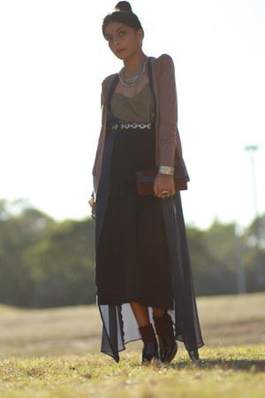 black patent leather Donald J Pilner boots - navy sheer chiffon vintage dress -