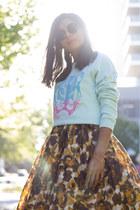 mustard asos dress - aquamarine vintage jumper