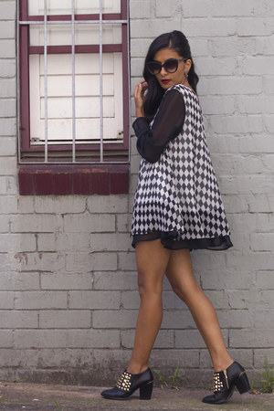 Zara boots - vintage dress - Cheap Monday sunglasses