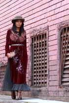 maroon vintage dress - navy vintage skirt - black asos heels