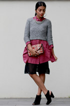 One One Seven shirt - vintage jumper - vintage skirt - Nine West heels
