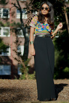 blue vintage top - black asos pants