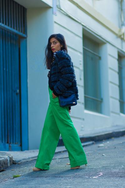 gray vintage jacket - green asos pants