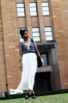 off white chiffon maxi vintage skirt - blue vintage top - gray Jeffrey Campbell