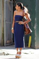 light blue asos heels - dark brown vintage bag - navy asos skirt