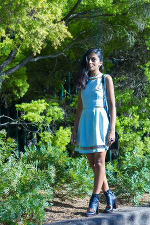 navy beau coops boots - light blue asos dress