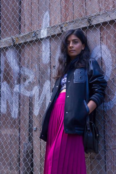 hot pink vintage skirt - black T Bar jacket - black asos top