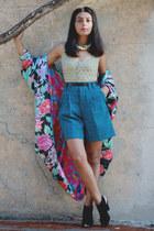 hot pink vintage jacket - turquoise blue vintage shorts - chartreuse vintage top