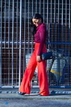 carrot orange vintage pants - brick red vintage top