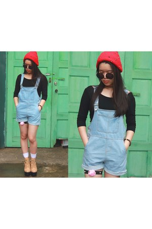 black black crop top top - red Studded read beanie hat - sky blue Dungaree pants