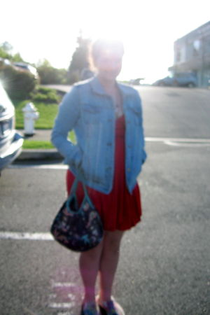 red dress - Steve and Barrys shoes - jacket - YakPak purse