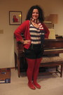 Red-tights-thrifted-scarf-navy-high-waisted-forever-21-shorts-navy-gap-top