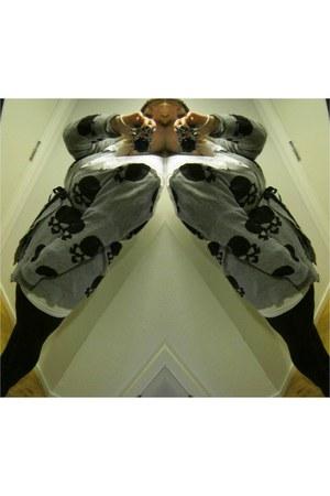 vintage shirt - tights - skulls GINA TRICOT cardigan