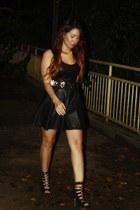 black stripes Bakers shoes - black faux leather asos dress