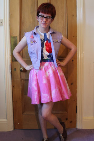 light purple new look jacket - bubble gum skirt - white t-shirt
