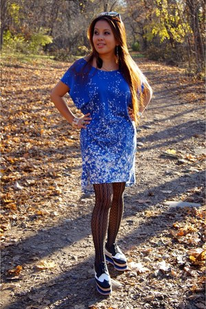 paint splatter H&M dress - adlong Jeffrey Campbell shoes - Me moi tights
