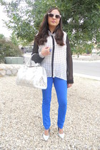 Charming Charlie bag - papaya pants - Forever21 blouse - Shoedazzle wedges