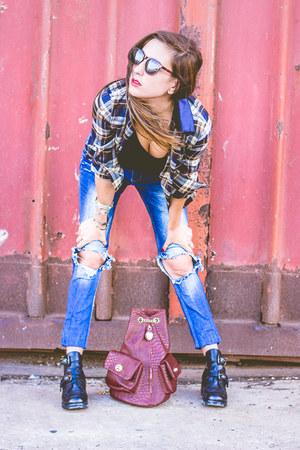 plaid pull&bear shirt - shoes Choies shoes - zara pull&bear jeans - sunglasses