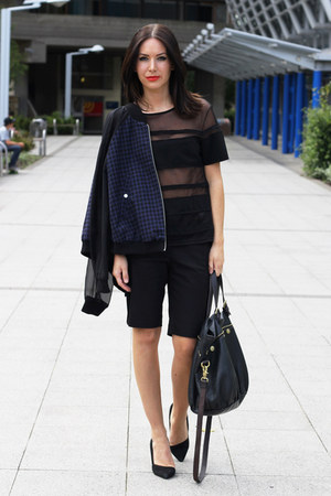 navy dogtooth H&M jacket - Mulberry bag - black H&M shorts - sheer H&M top