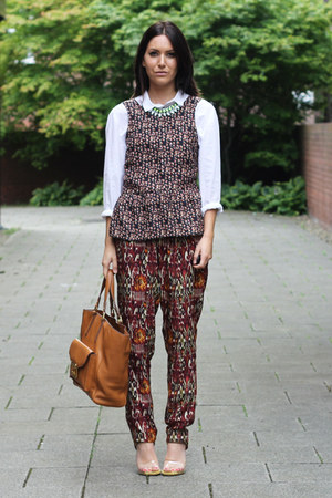 crimson printed peplum Zara blouse - white H&amp;M shirt
