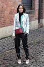 Silver-biker-zara-jacket-crimson-trio-celine-bag