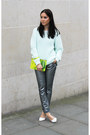 Aquamarine-h-m-jumper-yellow-kurt-geiger-bag-silver-zara-pants-zara-heels