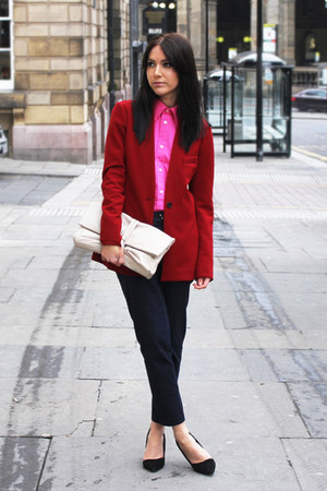 ruby red Zara blazer - Zara bag - navy H&M pants
