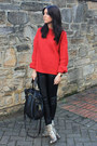 Red-h-m-jumper-beige-zara-boots-mulberry-bag-black-topshop-pants