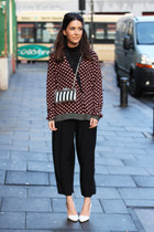 perspex Zara bag - crimson printed Zara shirt - black cropped H&M pants